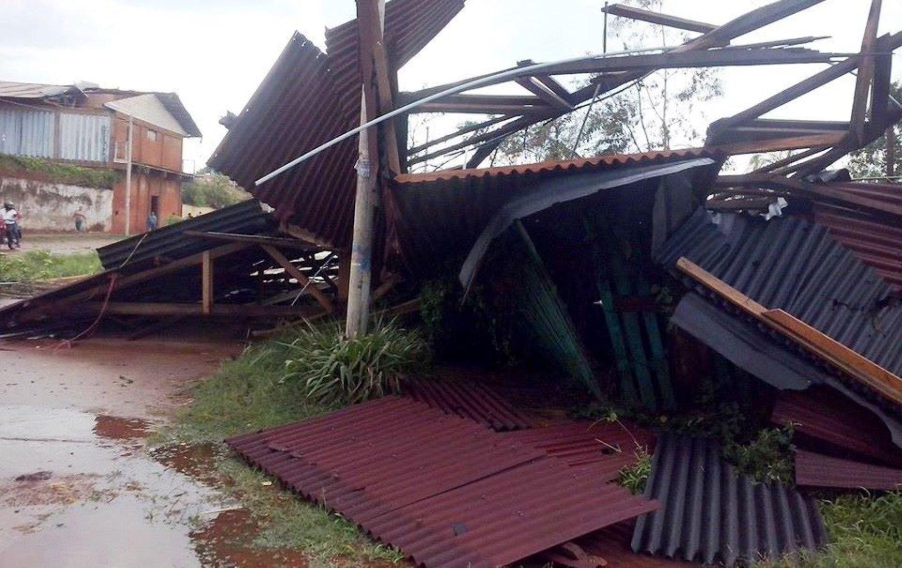 Vientos fuertes causaron daños materiales en distrito de Iberia en Tahuamanu, en Madre de Dios.