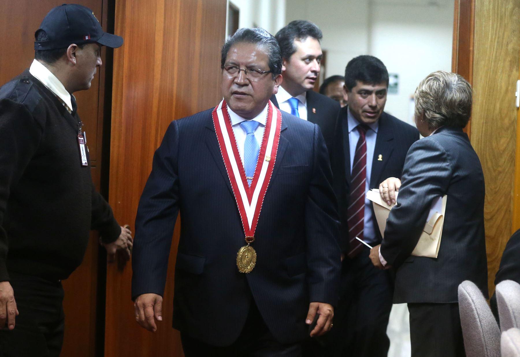 LIMA,PERÚ-JULIO 21. Pablo Sánchez Velarde jura como nuevo fiscal de la Nación para el periodo 2015 - 2018.Foto: ANDINA/Vidal Tarqui