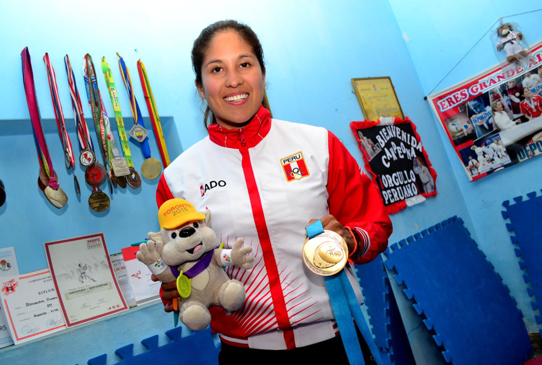 LIMA,PERÚ-AGOSTO 01. Karateka peruana, Alexandra Grande, ganadora de la medalla de oro en los Juegos Panamericanos de Toronto. Foto: ANDINA/ Diana Marcelo