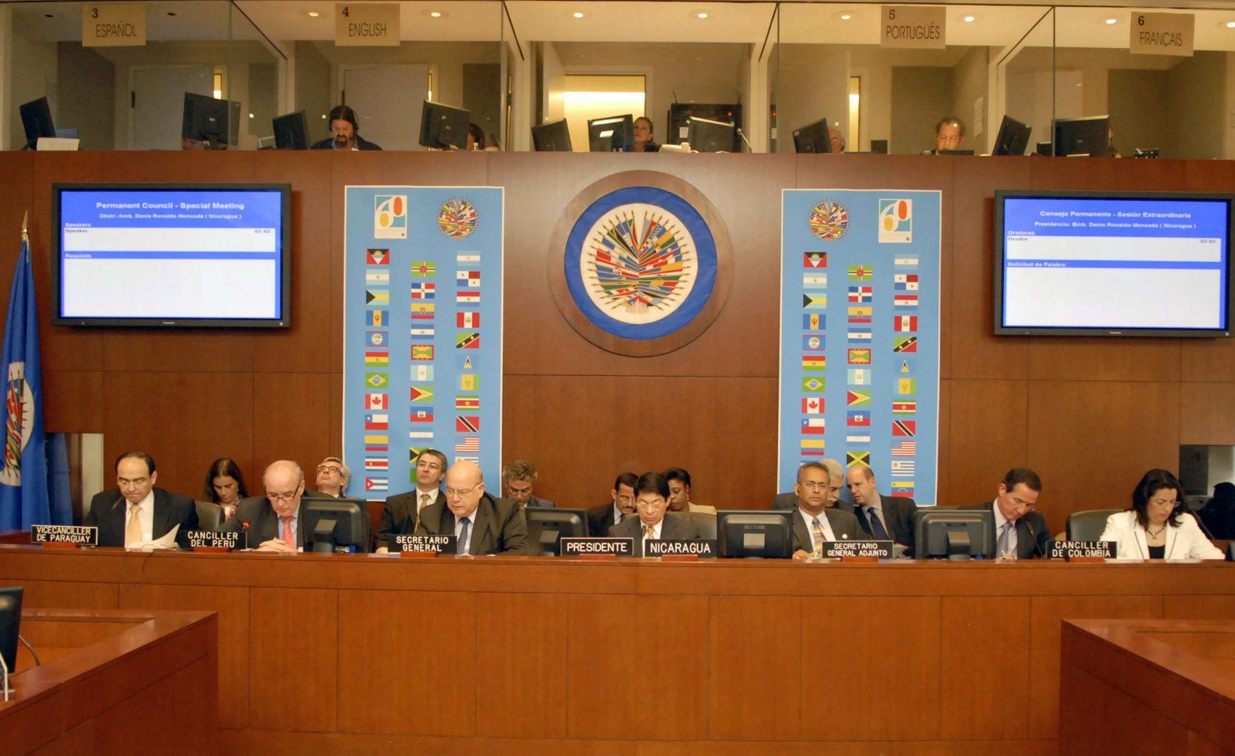 El canciller José Antonio García Belaunde participó de la sesión extraordinaria del Consejo Permanente de la OEA. Foto: ANDINA/OEA.