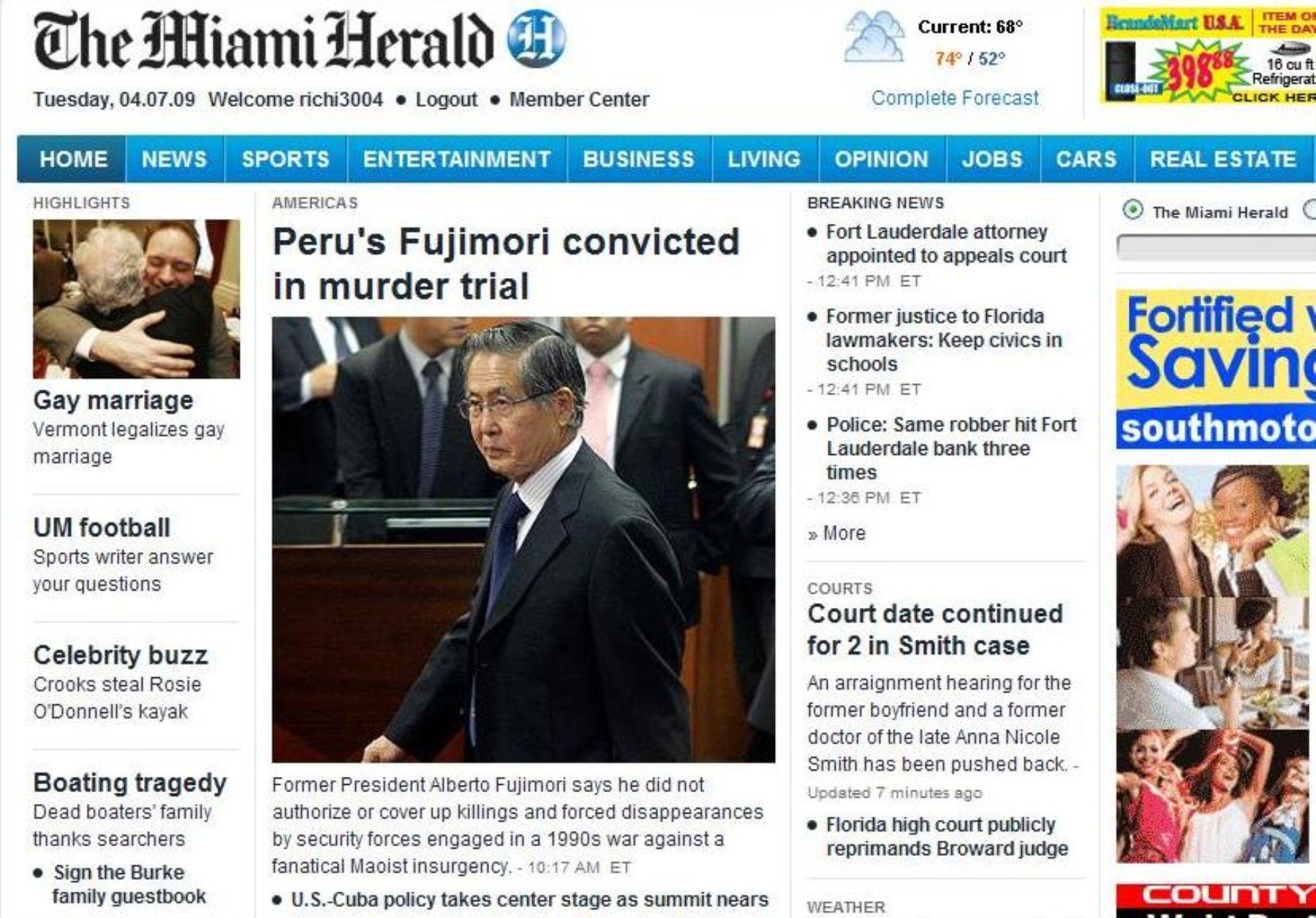Portada del The Miami Herald, informando sobre condena a Fujimori.