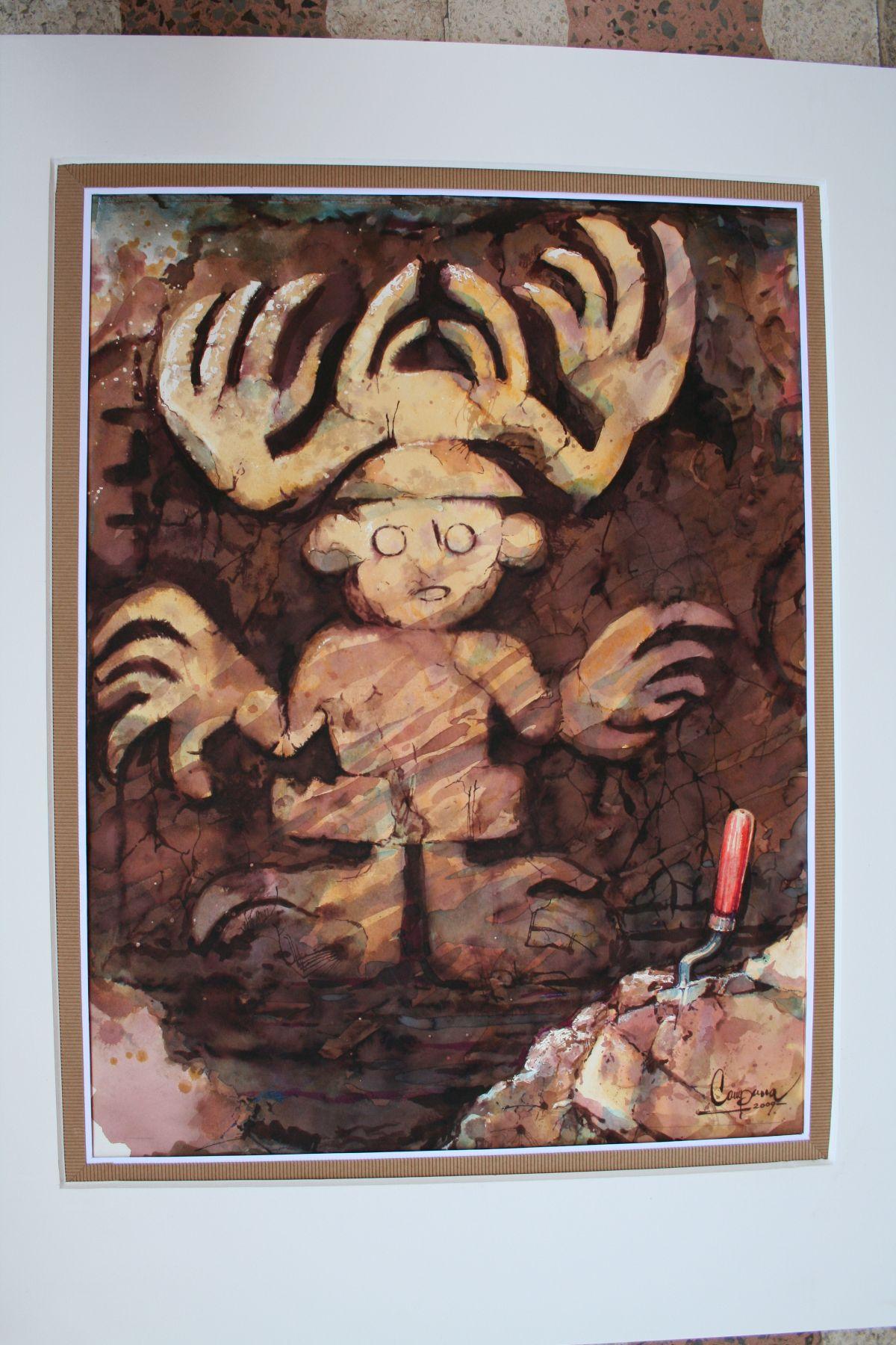 """Acuarela de la exhibición pictórica denominada """"Las raíces del barro"""". Foto: Unidad Ejecutora 110."""