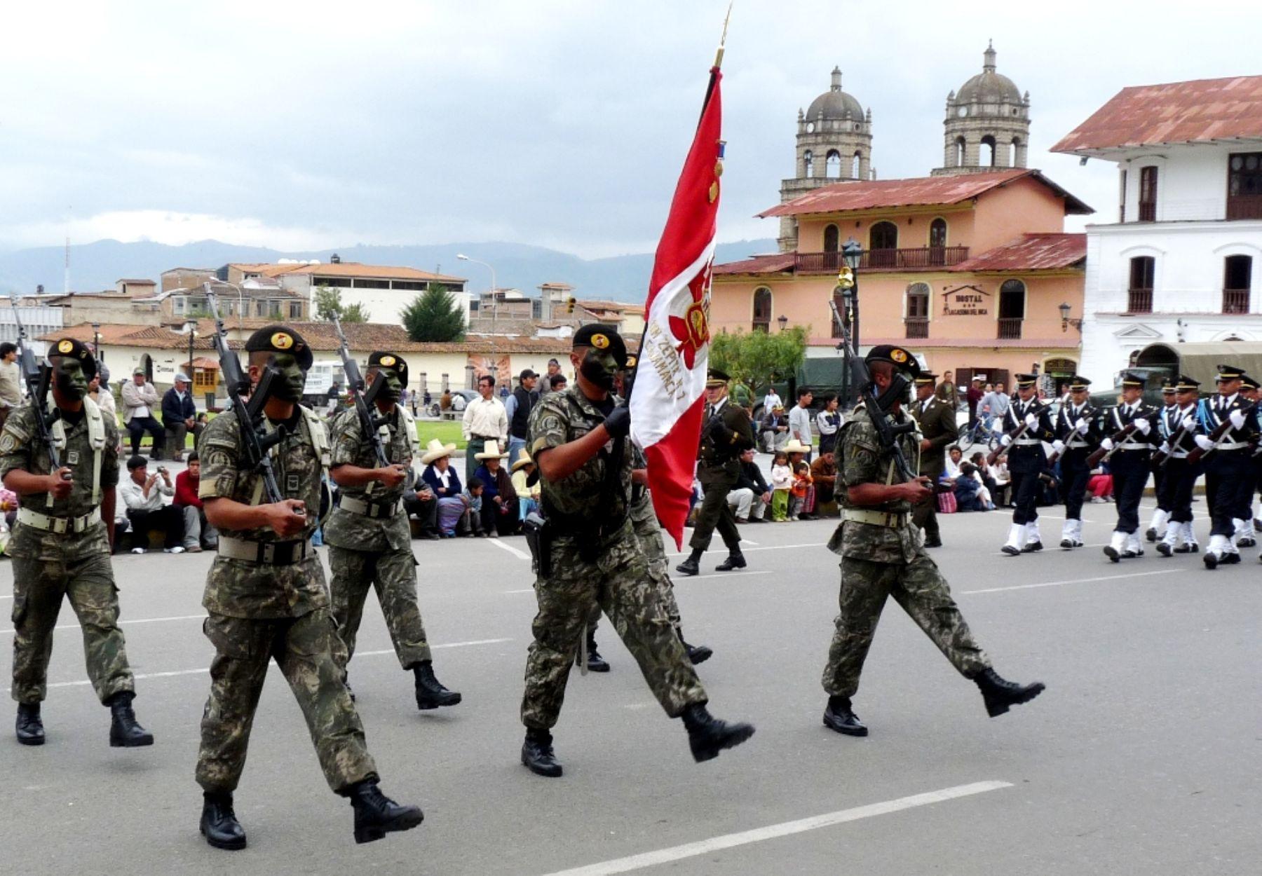 Desfile cívico-militar en Cajamarca. Foto: ANDINA / Eduard Lozano.
