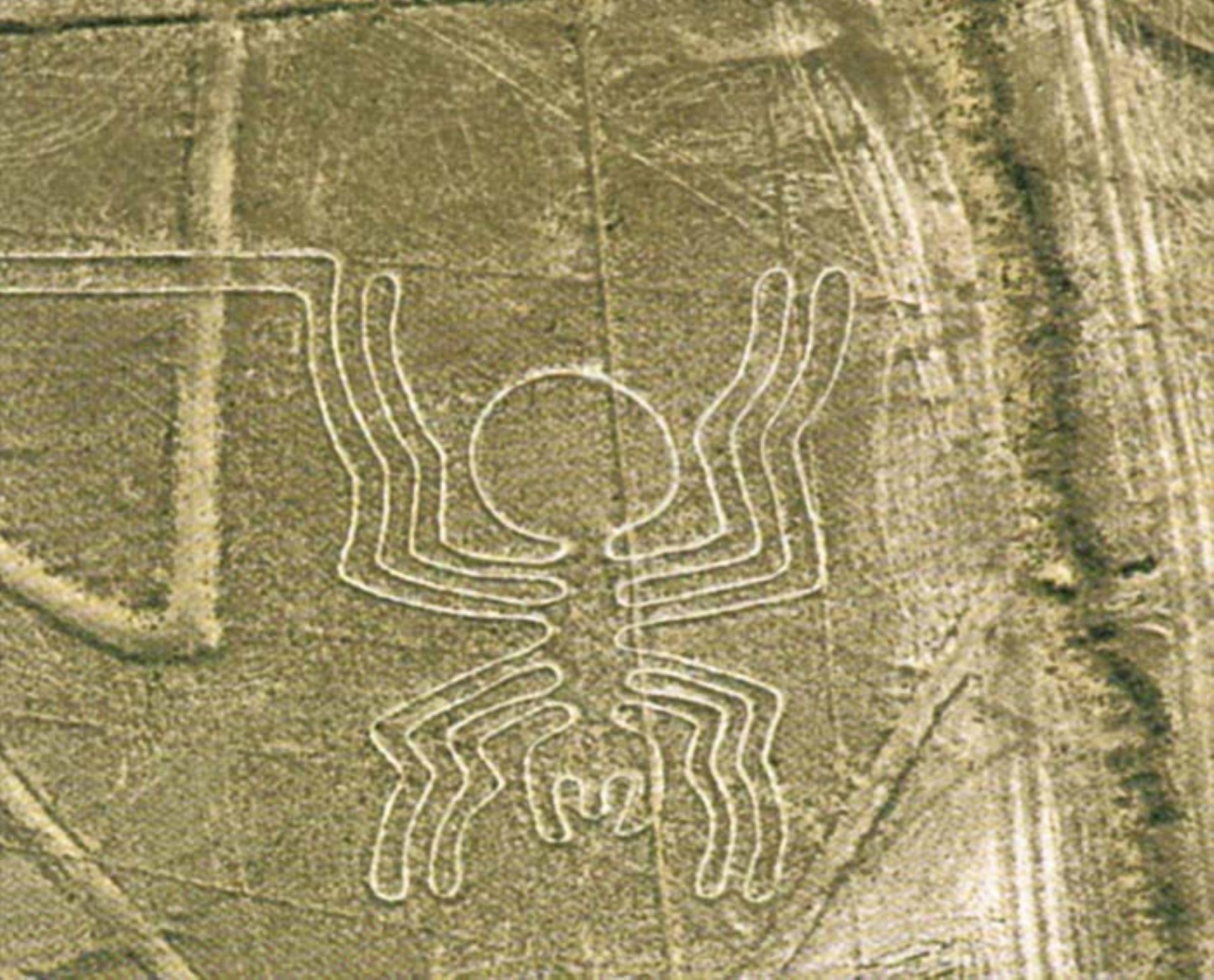 La araña, una de las famosas Líneas de Nasca, en Ica.