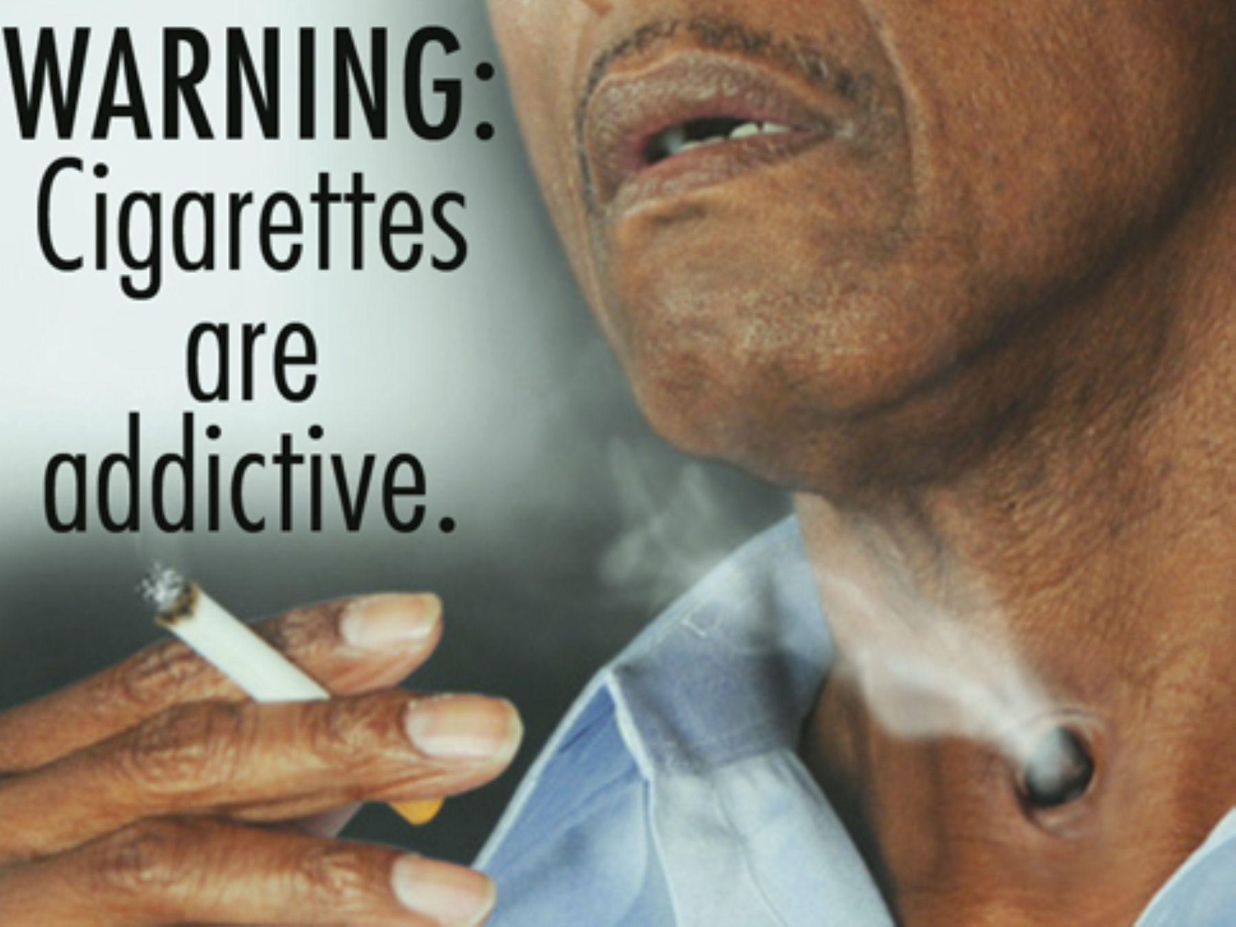 Advertencia contra el consumo excesivo de tabaco. Cortesía