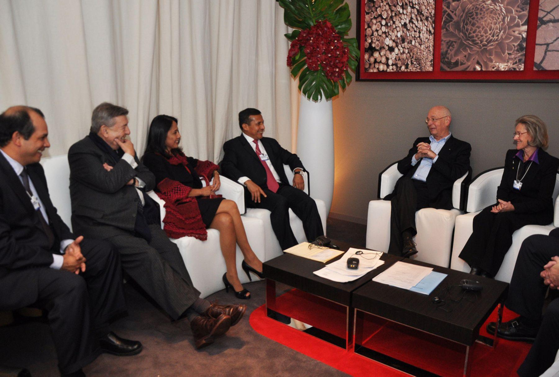 Presidente Ollanta Humala sostuvo hoy una reunión con el jefe del World Economic Forum, Klaus Schwab.