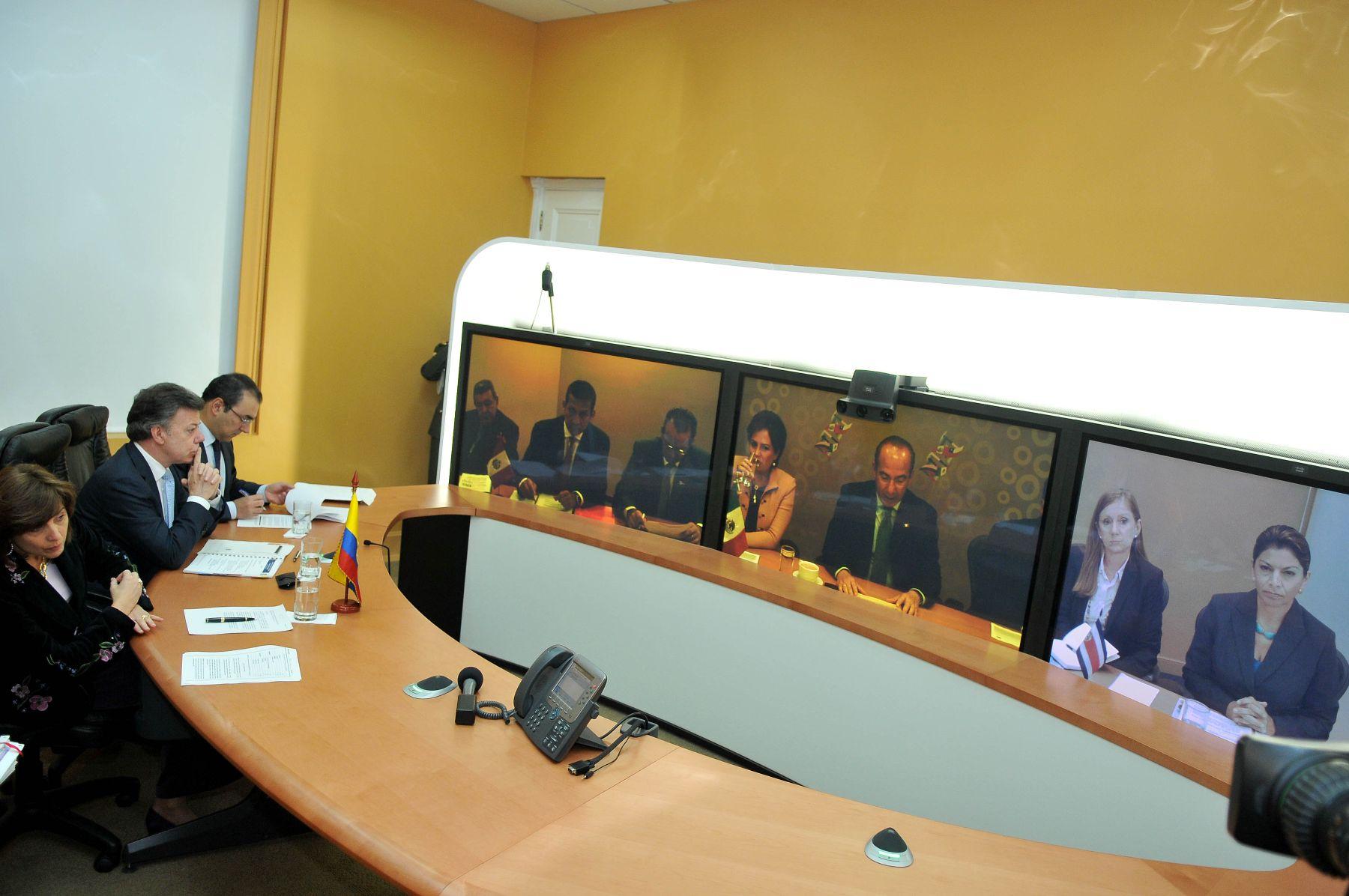 """Primera """"cumbre virtual"""" de jefes de Estado de la Alianza del Pacífico. ANDINA/Presidencia de Colombia."""