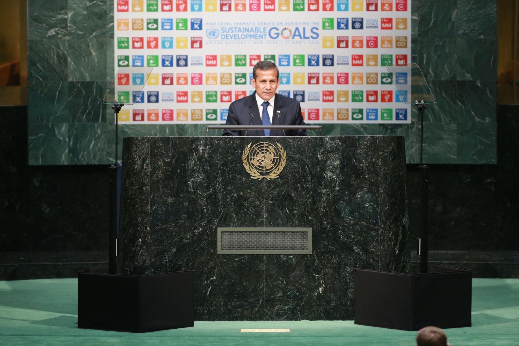 Exposición del presidente Ollanta Humala en el debate temático de alto nivel sobre el logro de los Objetivos de Desarrollo Sostenible (ODS), en Nueva York.