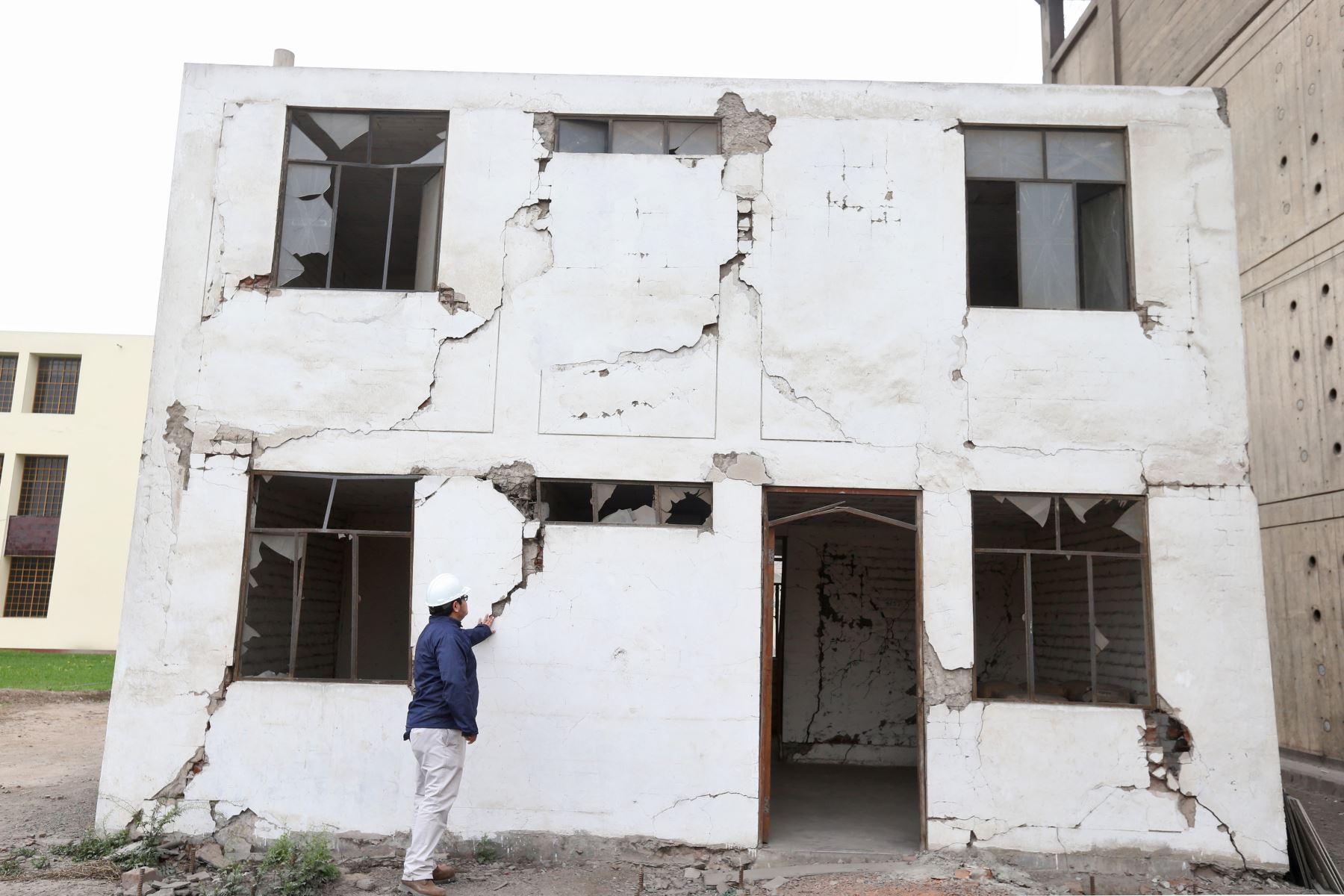 Vivienda con ladrillo pandereta reforzado que resiste sismo y no se cae, aunque sufre algunos daños. Fue construido en el 2009 dentro de la UNI. ANDINA/Oscar Farje