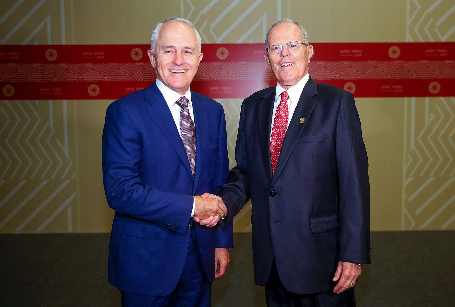 Presidente peruano Pedro Pablo Kuczynski y el  Primer ministro de Australia, Malcolm Turnbull. ANDINA/Prensa Presidencia
