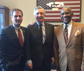 Congressional Caucus on Peru Co-Chairs, Senator Christopher Stewart (R-Utah), Representative Gregory Meeks (D-NY), and Peruvian Ambassador to the United States Carlos Pareja discuss bilateral issues.