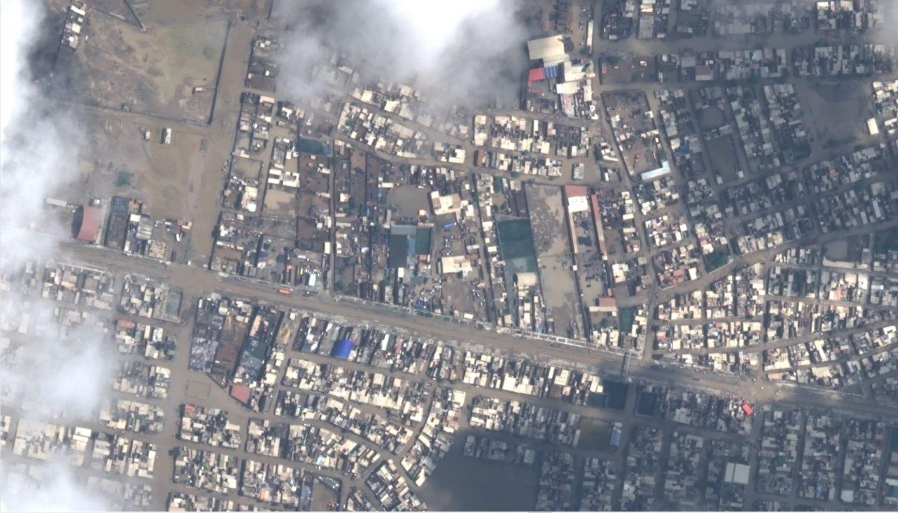 Imagen captada por el satélite PerúSAT de Chiclayo tras las intensas lluvias.