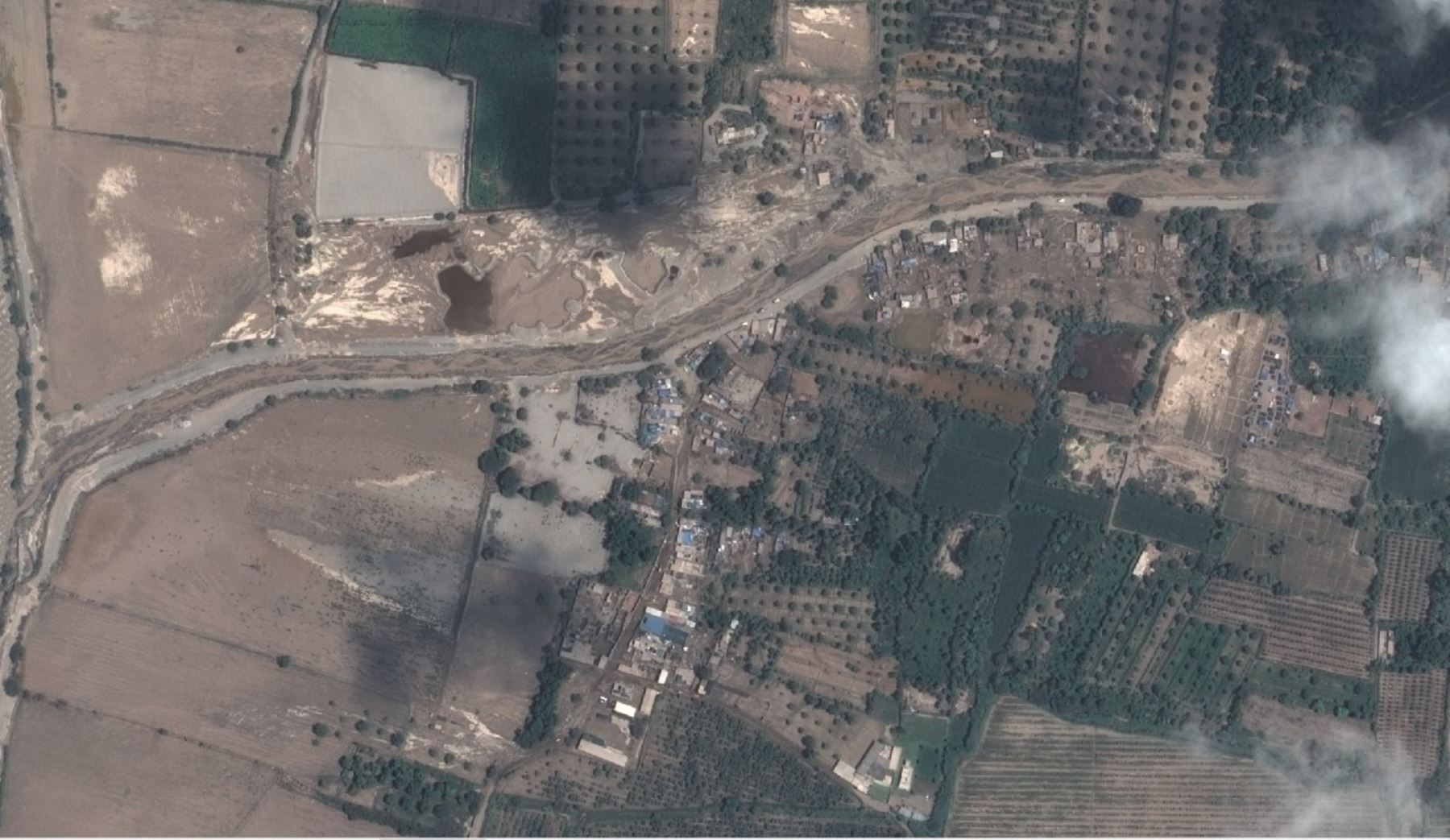 La ciudad de Ica es vista tras las lluvias por el satélite peruano PerúSAT.