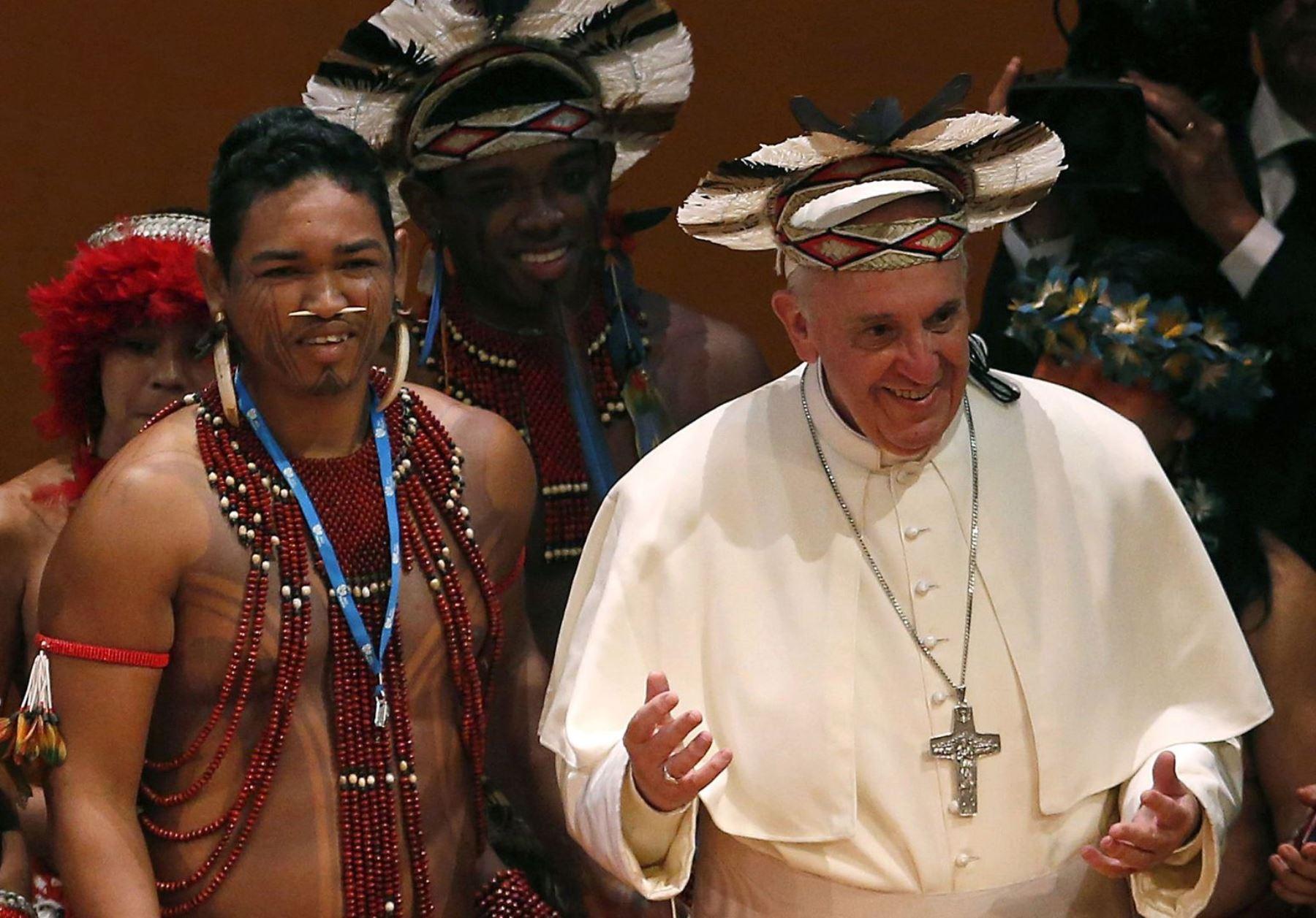Delegación indígena de Cusco participará de Encuentro con Papa Francisco en Puerto Maldonado. AFP