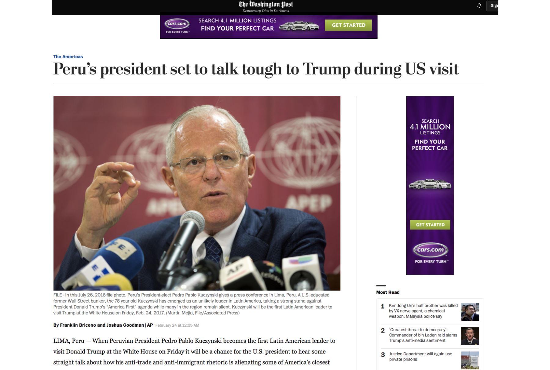 Prensa de EEUU informa sobre vista de Kuczynski y Trump. Foto: Captura.