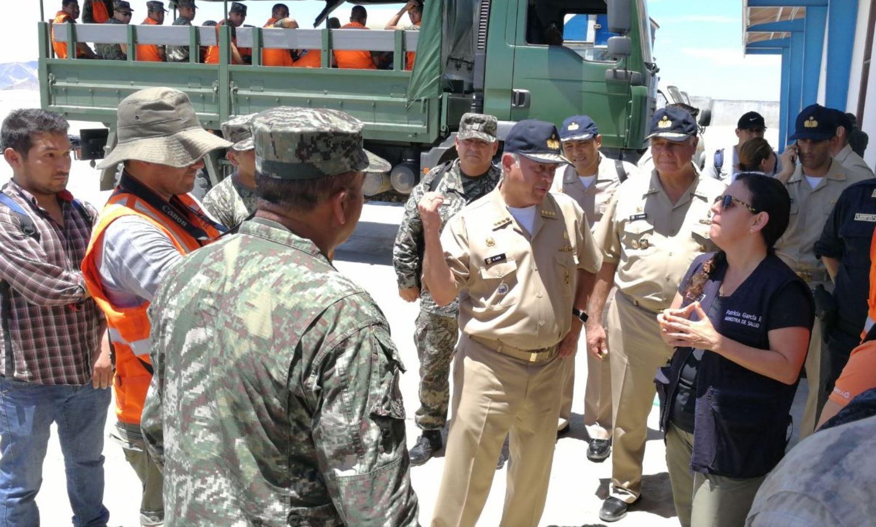 Ministra de Salud, Patricia García, coordinó envío de ayuda a Huarmey y Casma con las Fuerzas Armadas.