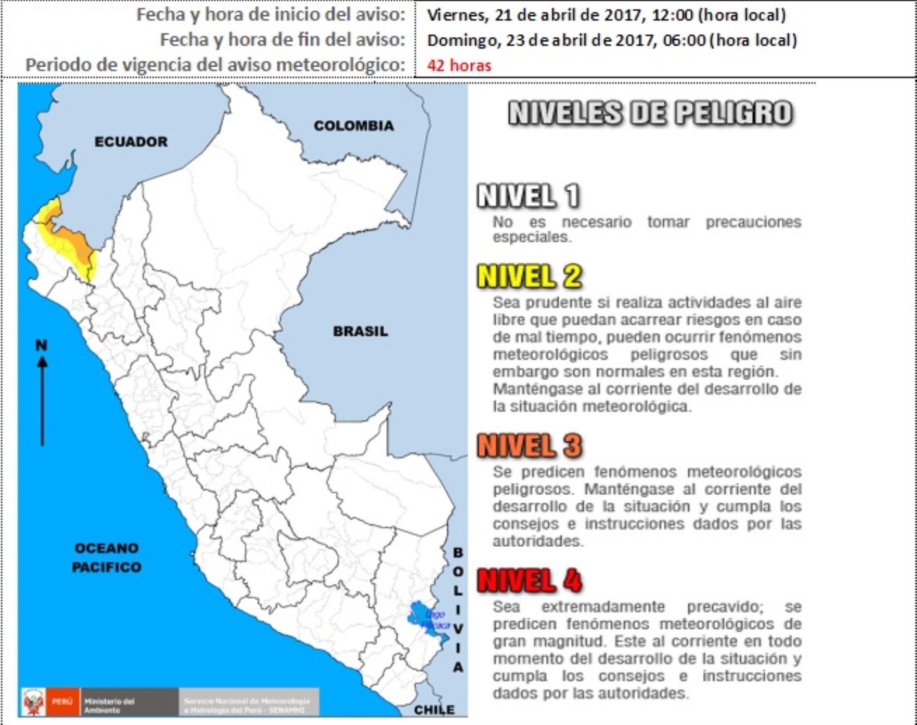 Desde hoy hasta el domingo 23 de abril se registrarán lluvias de moderada a fuerte intensidad en las zonas medias y altas de Tumbes, Piura y Cajamarca, informó el Servicio Nacional de Meteorología e Hidrología (Senamhi).