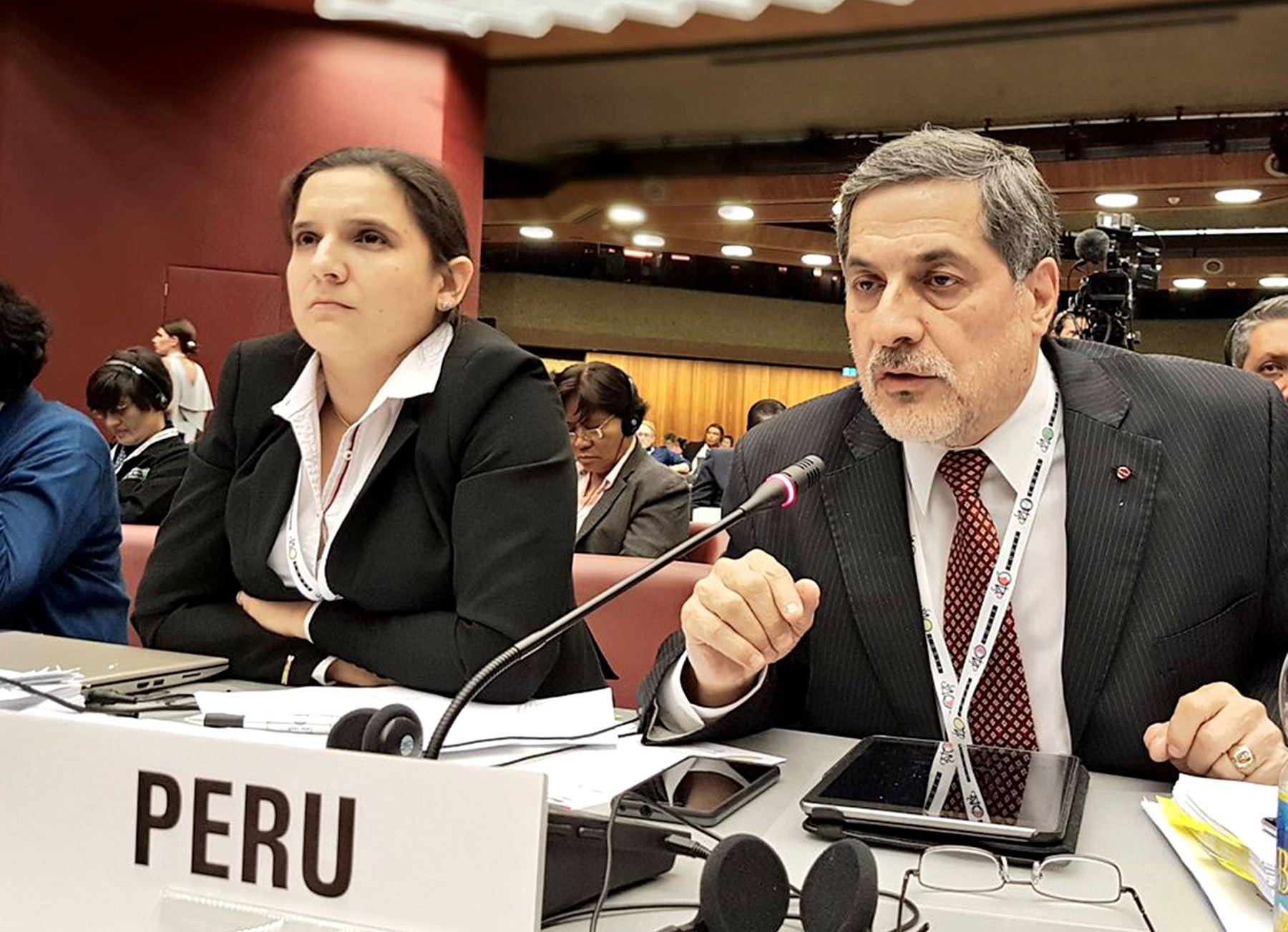 Director ejecutivo de Sanipes, Ernesto Bustamante sustenta en Ginebra propuesta peruana sobre norma de aceite de pescado. Foto: cortesía Produce