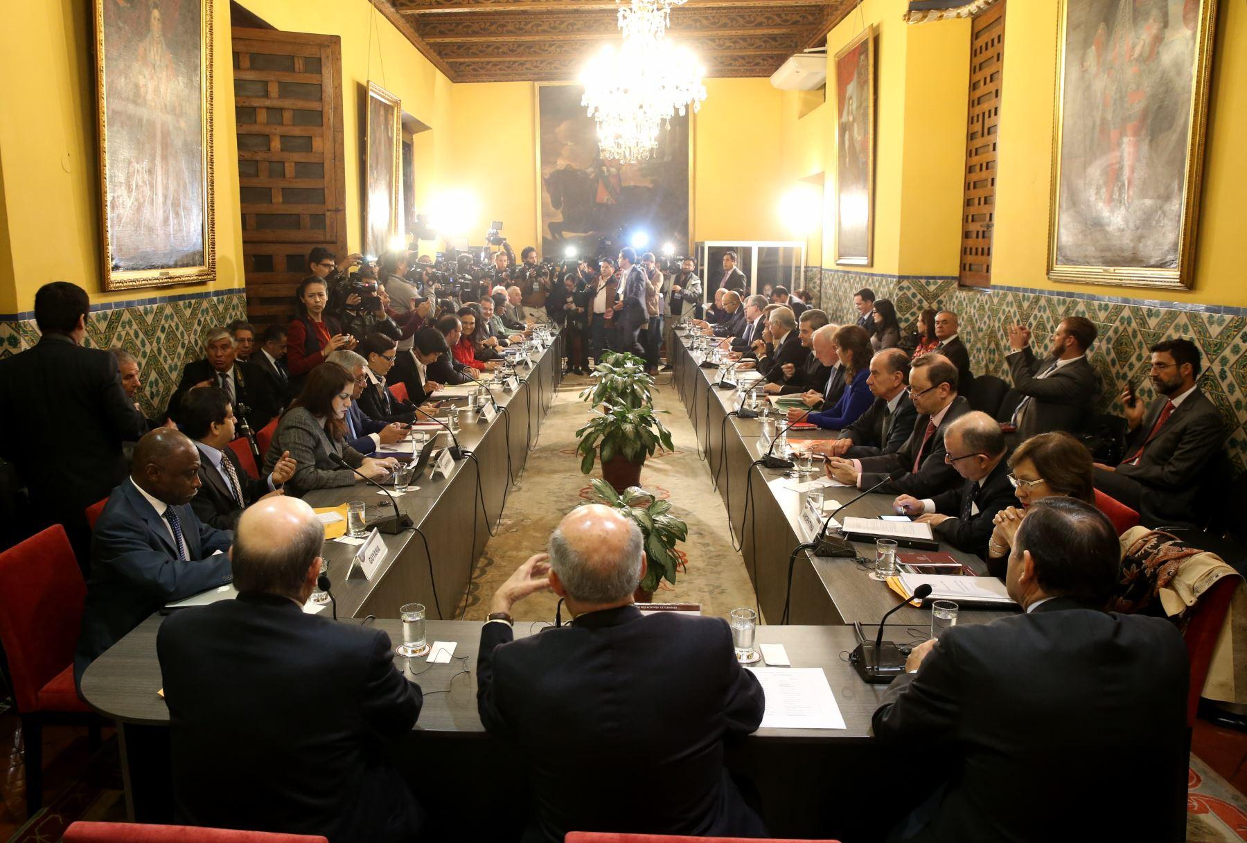LIMA,PERÚ-AGOSTO 08.Reunión de ministros de Relaciones Exteriores y representantes quienes evaluaran la situación que atraviesa Venezuela. Foto:ANDINA/Oscar Farje Gomero.