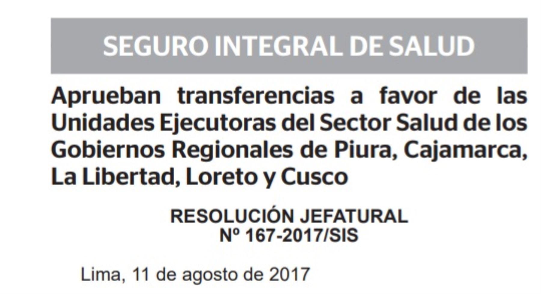 El Seguro Integral de Salud (SIS) ha aprobado transferencias que suman 330 millones de soles a favor de las unidades ejecutoras del Sector Salud de los Gobiernos Regionales para financiar las prestaciones de salud brindadas a los asegurados.