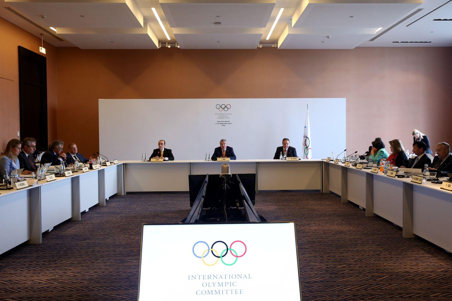LIMA,PERÚ-SETIEMBRE 11.Thomas Bach presidente de COI encabeza reunión de la mesa  ejecutivo del Comité Olímpico Internacional.Foto:ANDINA/Oscar Farje Gomero.