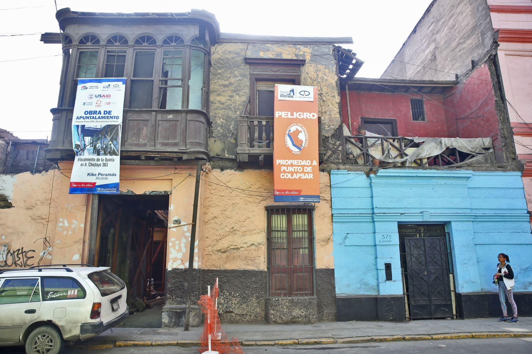 Casonas en mal estado del jirón Chiclayo, en el Rímac. Foto: ANDINA/Oscar Farje.