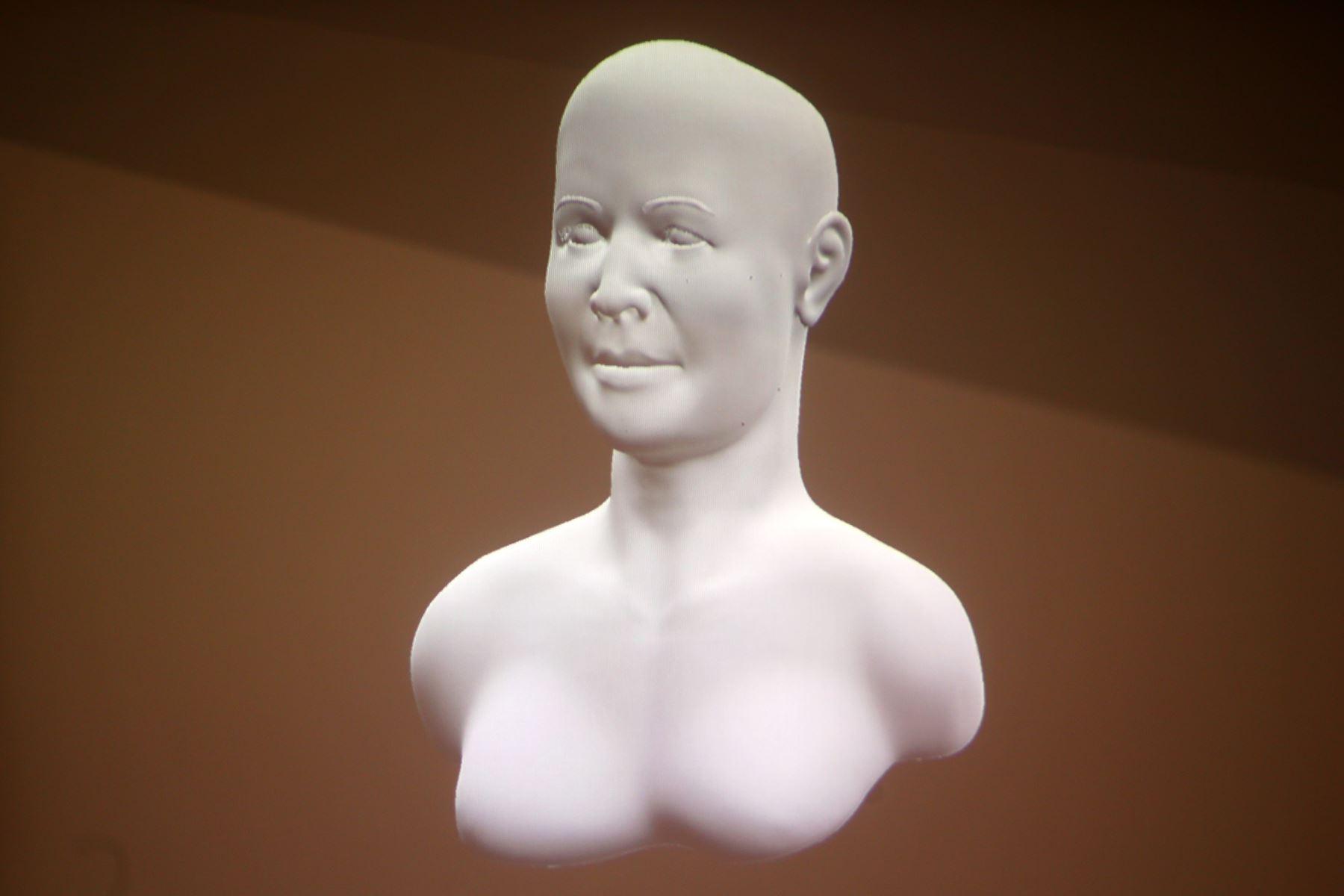 """El misterio que embargaba sobre la identidad de una mujer de alto estatus social en la civilización Caral, llamada la """"Dama de los Cuatro Tupus"""", cuyos restos fueron encontrados en el sitio arqueológico Áspero, fue revelado hoy con la presentación de su rostro reconstruido gracias a la tecnología en tercera dimensión o 3D. ANDINA/Melina Mejía"""
