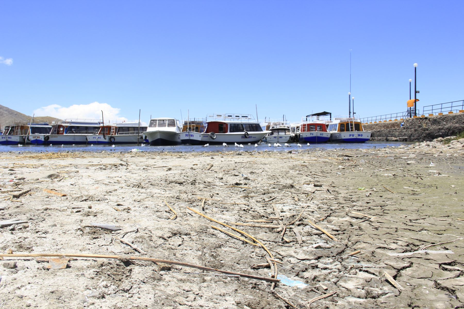 Senamhi Puno advierte por el descenso de la cota del lago Titicaca. ANDINA