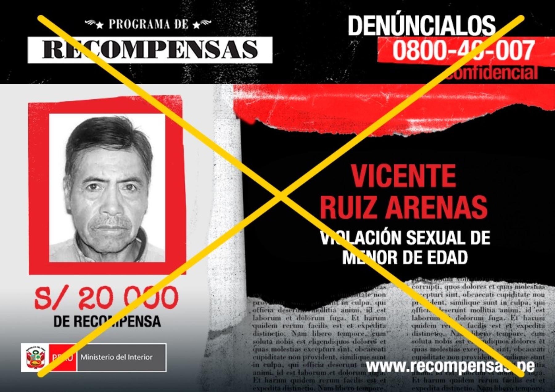 Por Vicente Ruiz Arena el Ministerio del Interior ofrecía una recompensa de S/20, 000.