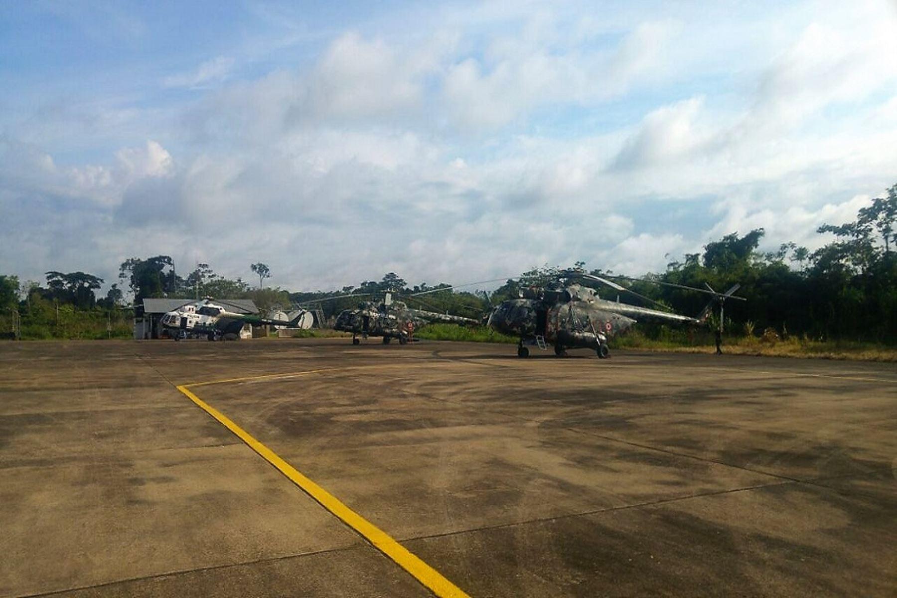 Fuerzas Armadas desplegaron helicópteros en apoyo de la Policía Nacional en la lucha contra la minería ilegal. Foto: ANDINA/Difusión.
