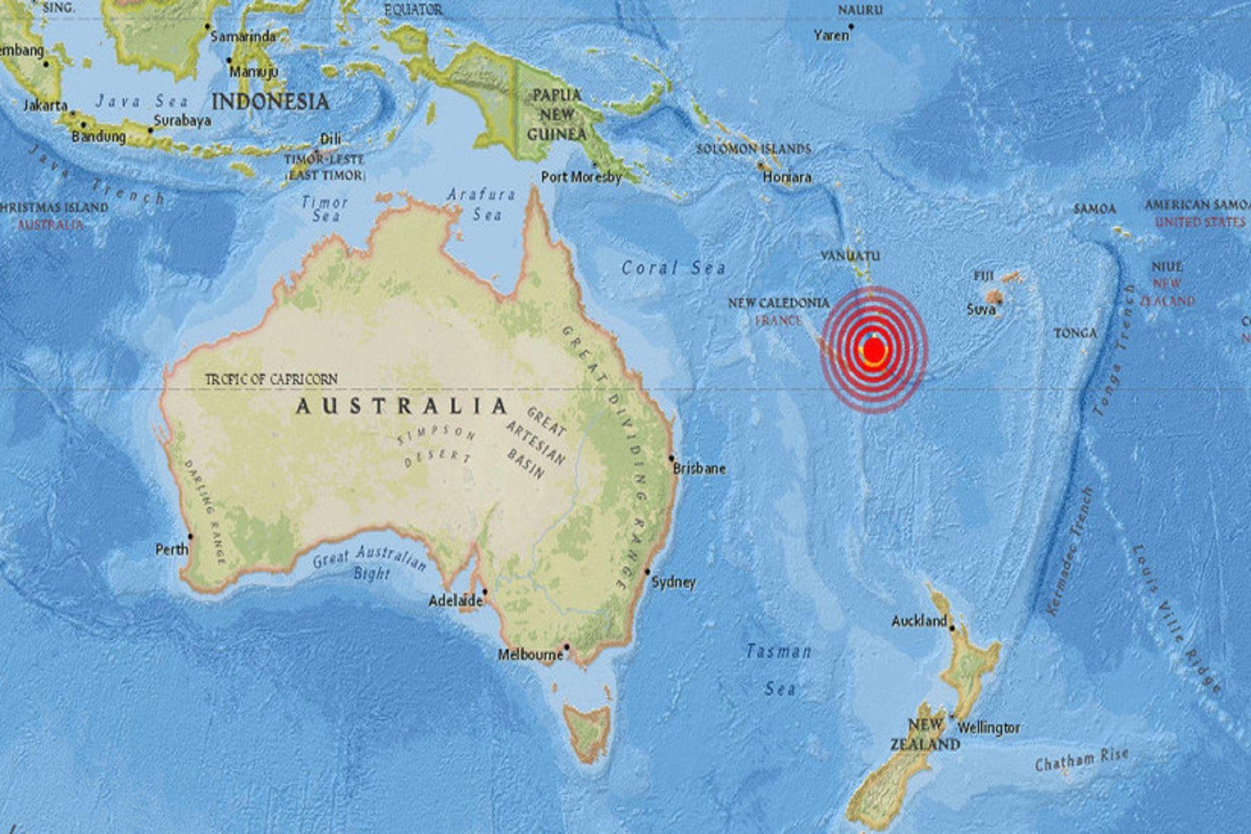 Epicentro de terremoto en Nueva Caledonia. Foto: Internet.