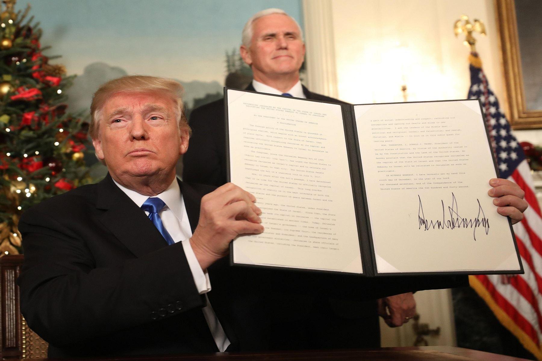 Presidente de Estados Unidos, Donald Trump, reconoce a Jerusalén como capital de Israel. Foto: EFE