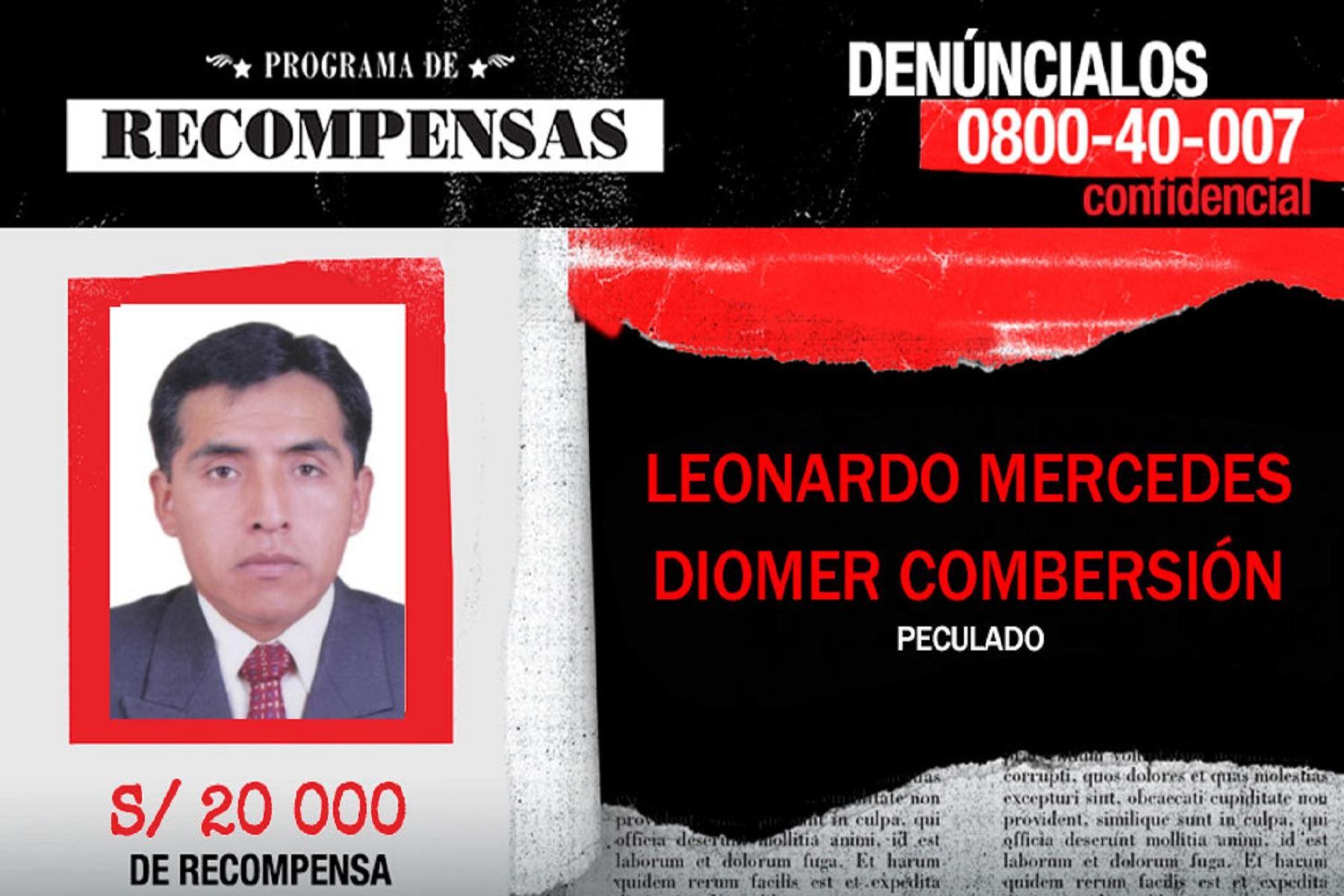 Capturado alcalde del distrito ancashino de San Cristóbal de Raján, en la provincia de Ocros, Diomer Leonardo Mercedes, requisitoriado por el delito de peculado, había sido incluido en el Programa de Recompensas.