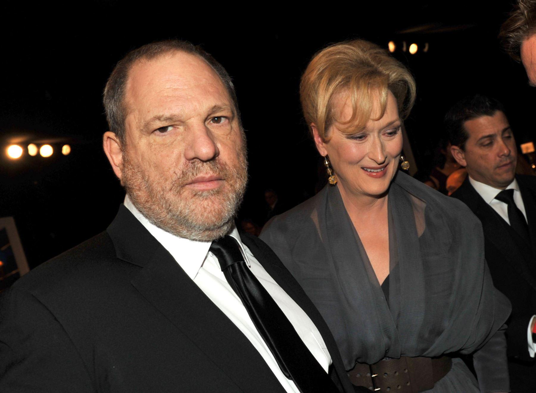 El productor Harvey Weinstein y la actriz Meryl Streep en el auditorio Shrine. Foto: AFP