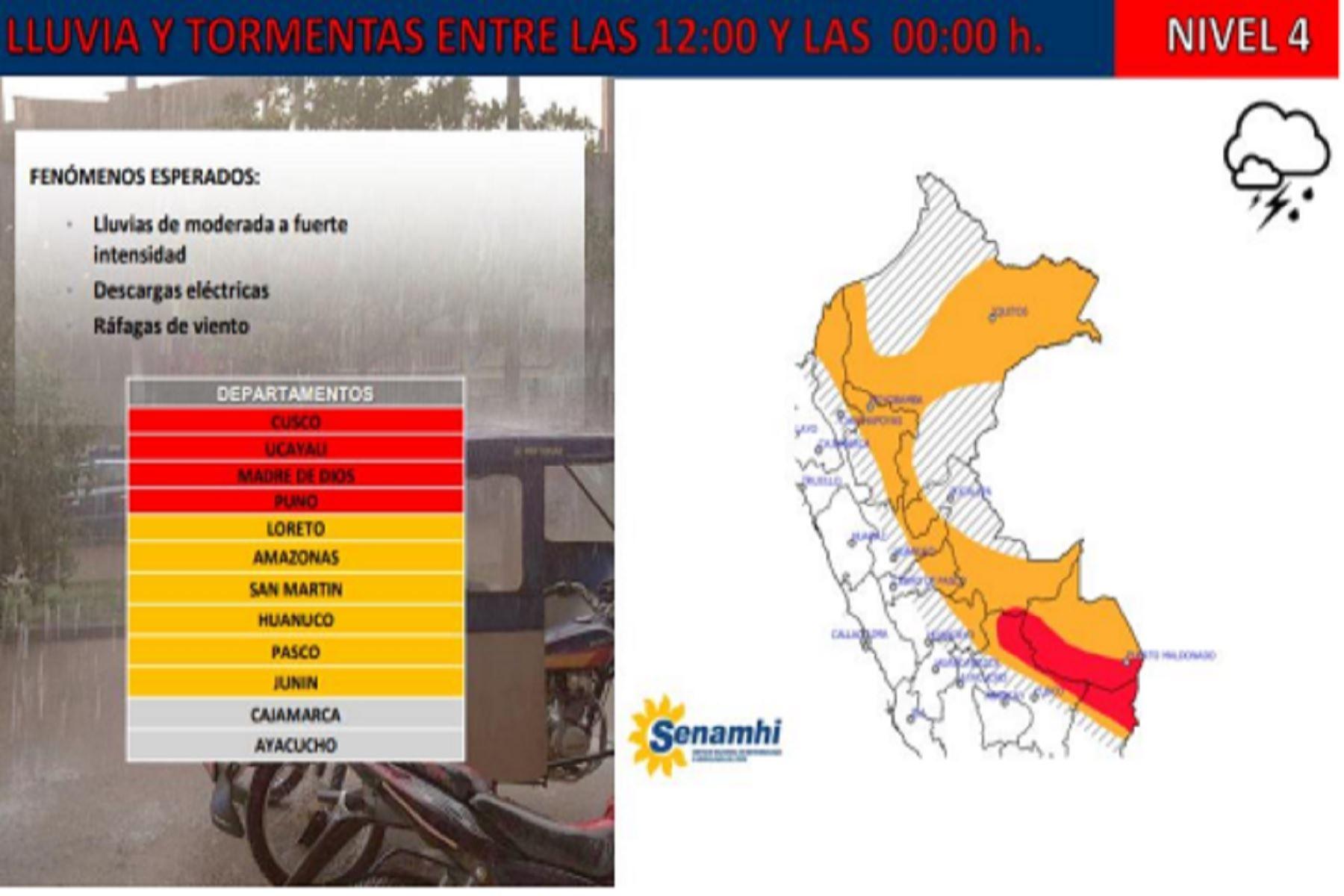 Lluvias intensas se esperan en estas zonas del Perú — Senamhi