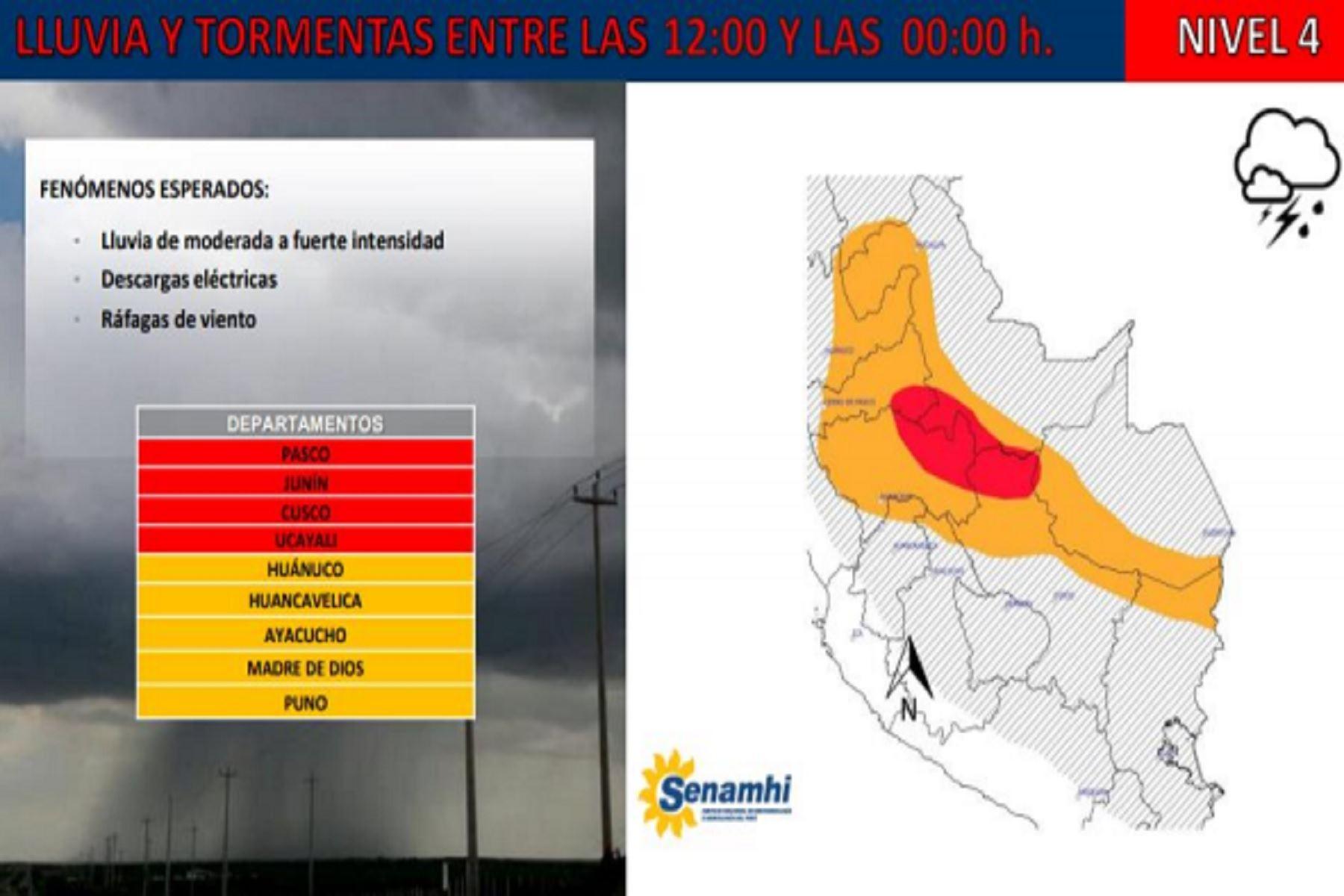 Lluvias de menor intensidad se presentarán en las regiones Huánuco, Huancavelica, Ayacucho, Madre de Dios y Puno.