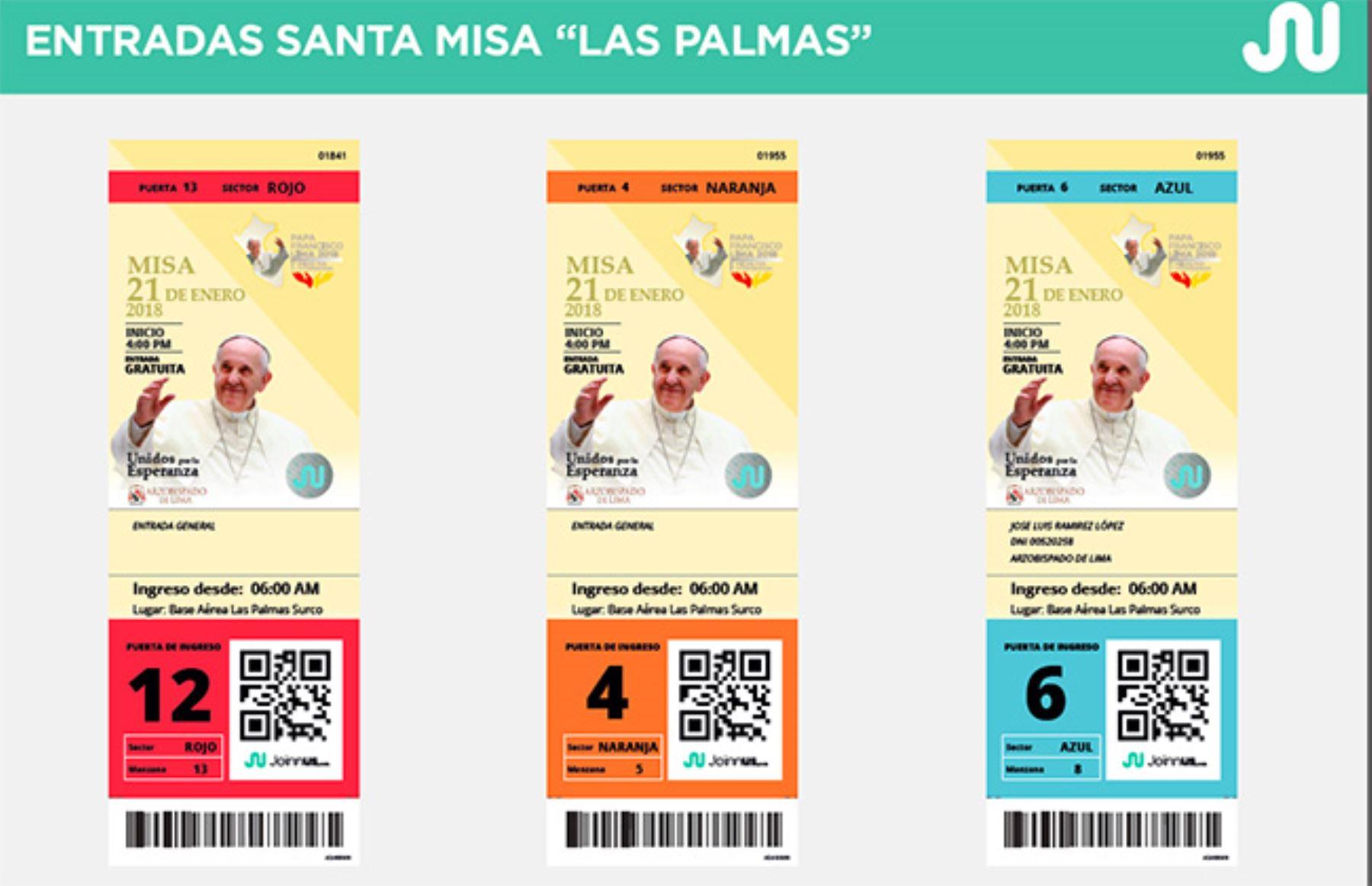 Entradas para la misa en base Las Palmas. Foto: Difusión