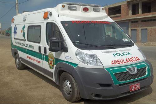 Ambulancia de la Sanidad de las Fuerzas Policiales. Foto:Andina/difusión