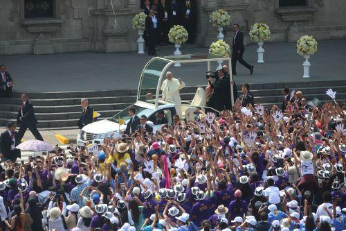 Papa Francisco en Catedral de Lima. Foto: ANDINA/Juan Carlos Guzmán