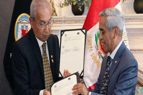 Acuerdo fue firmado entre el presidente del Poder Judicial, Duberlí Rodríguez Tineo, y el titular de la Amag, Pedro Chávarry Vallejos.