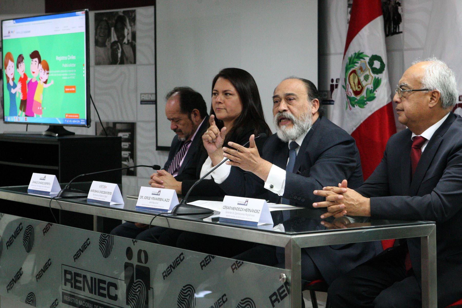 Presentación del Portal Ciudadano del Reniec. Foto: ANDINA/Héctor Vinces