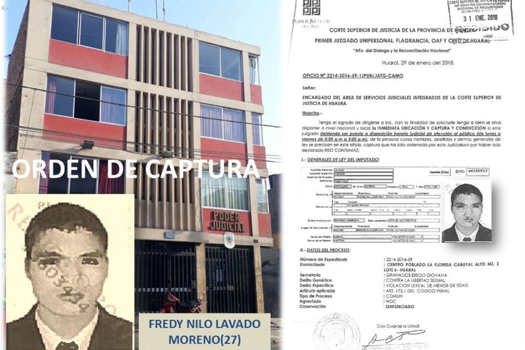 Poder Judicial condena a cadena perpetua a sujeto por violar a menor en Huaral. ANDINA/Difusión