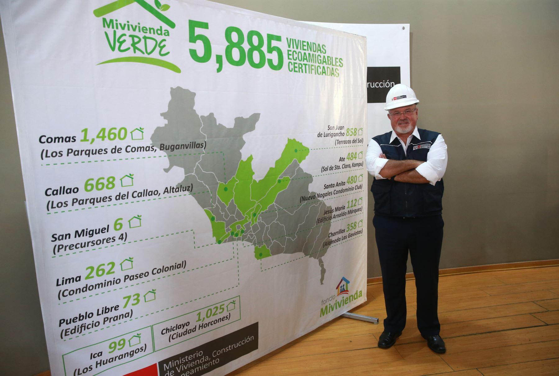 Carlos Bruce informó que Lima concentra el 81% de viviendas verdes