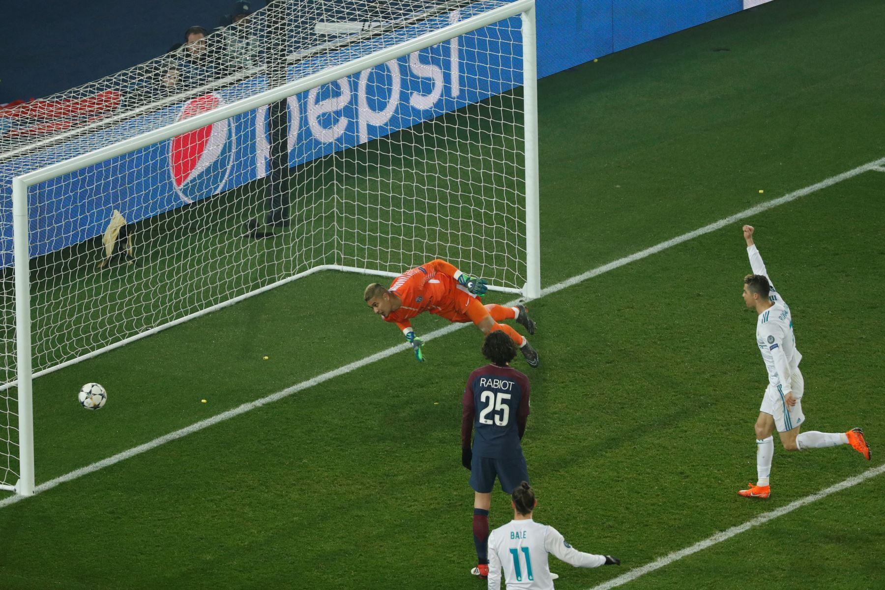 Gol del triunfo del  brasileño Casemiro del Real Madrid  ante el Paris Saint-Germain.Foto:AFP