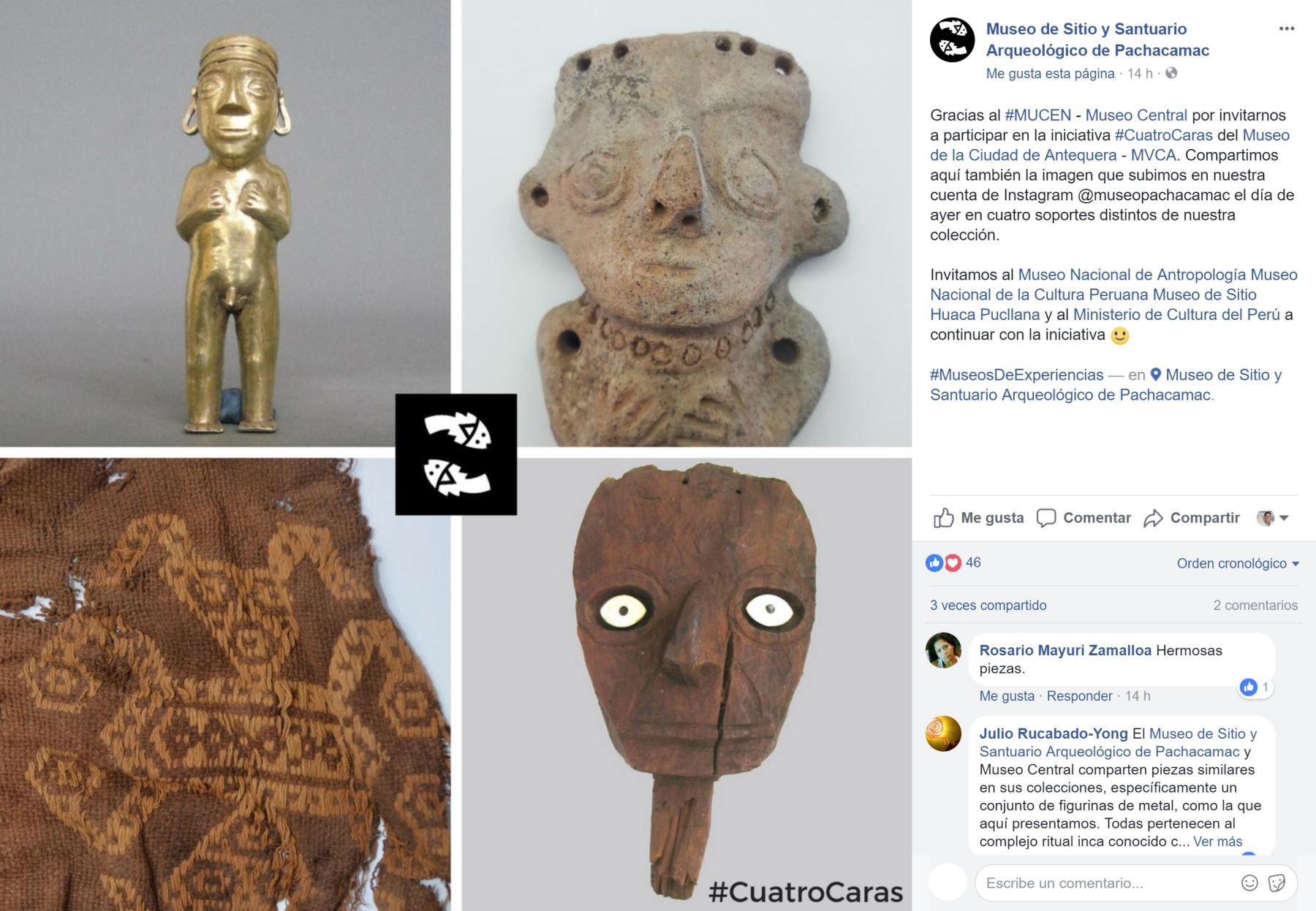 Participación del Museo de Sitio de Pachacamac en reto #CuatroCaras