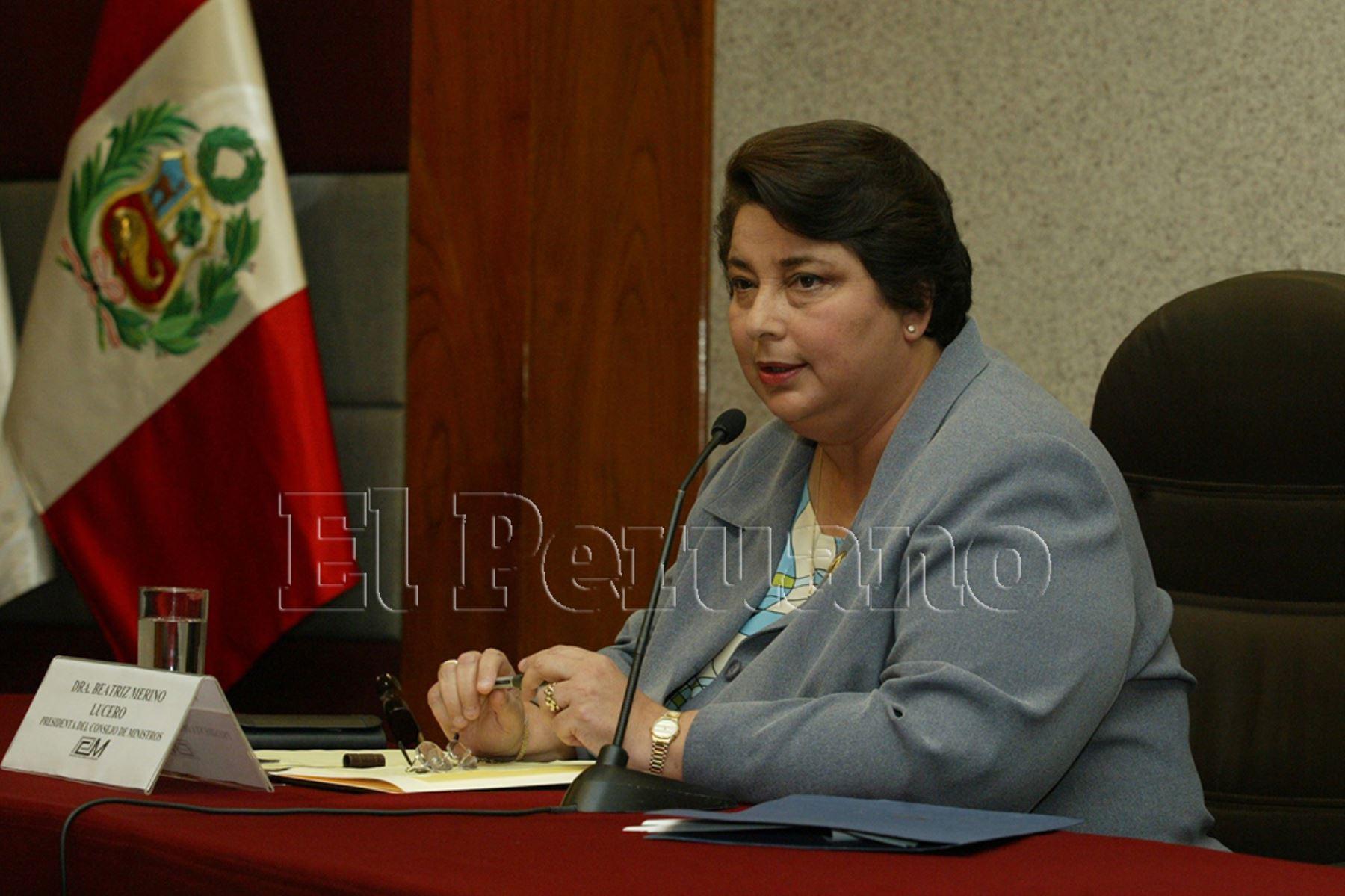 2003. Beatriz Merino Lucero fue designada presidenta del Consejo de Ministros en el gobierno de Alejandro Toledo.