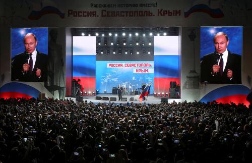 El presidente ruso, Vladimir Putin, en celebración del aniversario de la anexión de Crimea a Rusia
