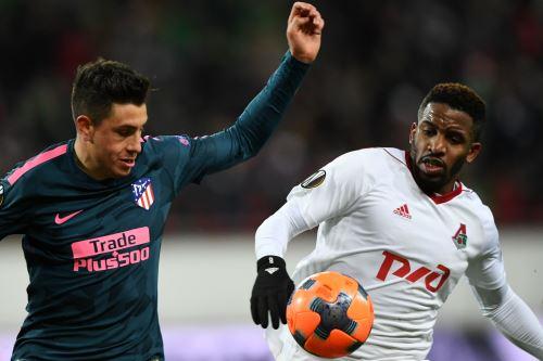 El Lokomotiv de Jefferson Farfán cayó goleado ante el Atlético de Madrid