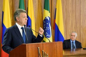 Juan Manuel Santos y Michel Temer. Foto: AFP