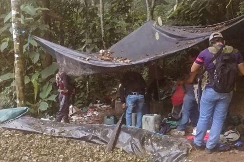 Policía Nacional destruye un laboratorio de cocaína en el Vraem. ANDINA/Difusión